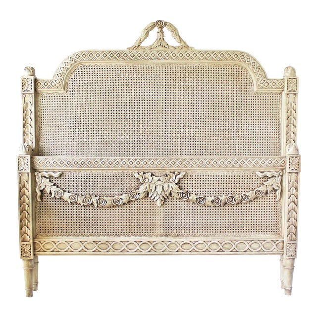 Vintage Louis XVI Style Caned Bed, Queen For Sale