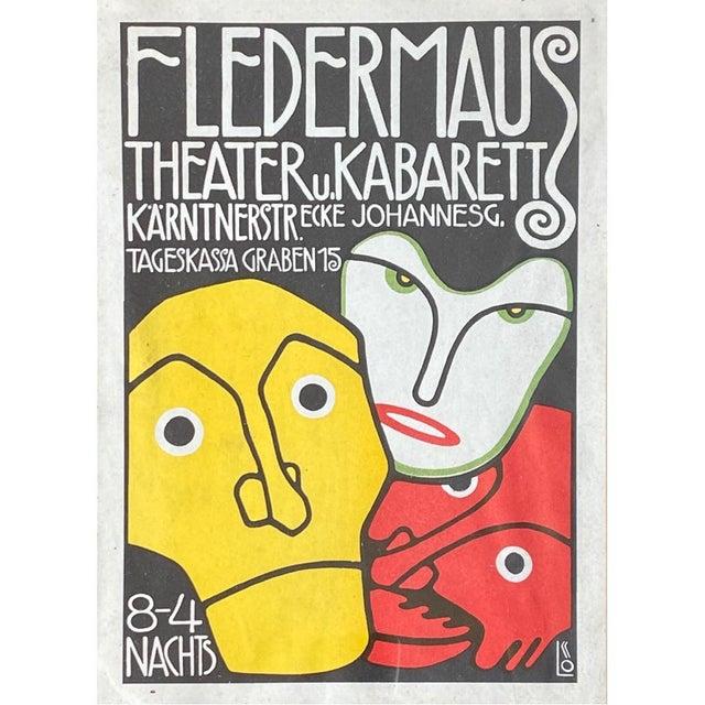 """Art Nouveau 1908 """"Berthold Loeffler Three Masks: Fledermaus Theater and Cabaret"""" Original Lithograph, Framed For Sale - Image 3 of 7"""
