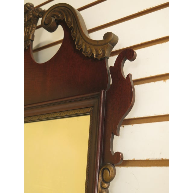 Glass Kindel Vintage Mahogany Chippendale Wall Mirror For Sale - Image 7 of 11
