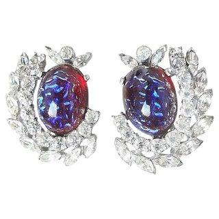 1960s Jomaz Reverse Cut Glass Cabochon Earrings For Sale