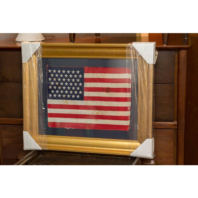 Authentic 49 Star Professionally Framed American Flag Rare Original For Sale - Image 10 of 10