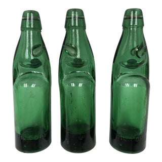Vintage Codd Neck Soda Bottles With Marble Stoppers - Set of 3 For Sale