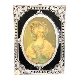 Silver-Framed Baroque Lady Cameo Portrait For Sale