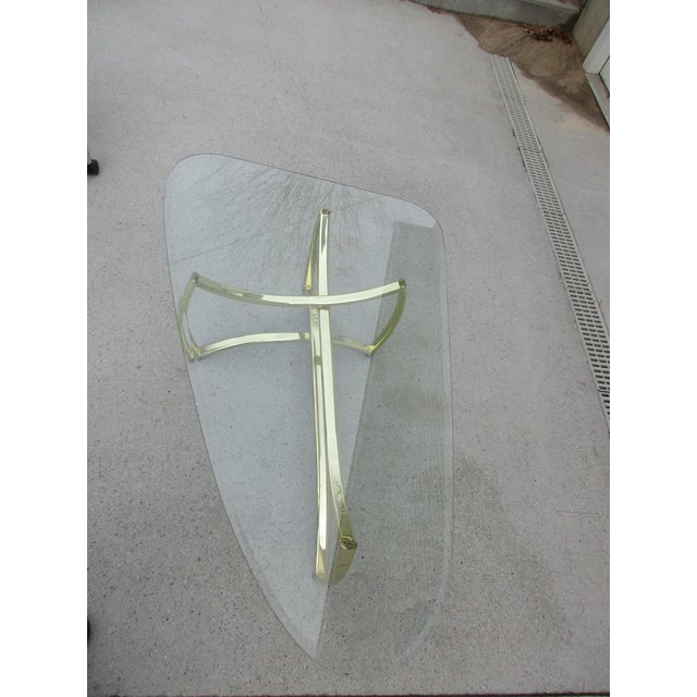 Oblong Brass and Beveled Glass Coffee Table For Sale - Image 4 of 10