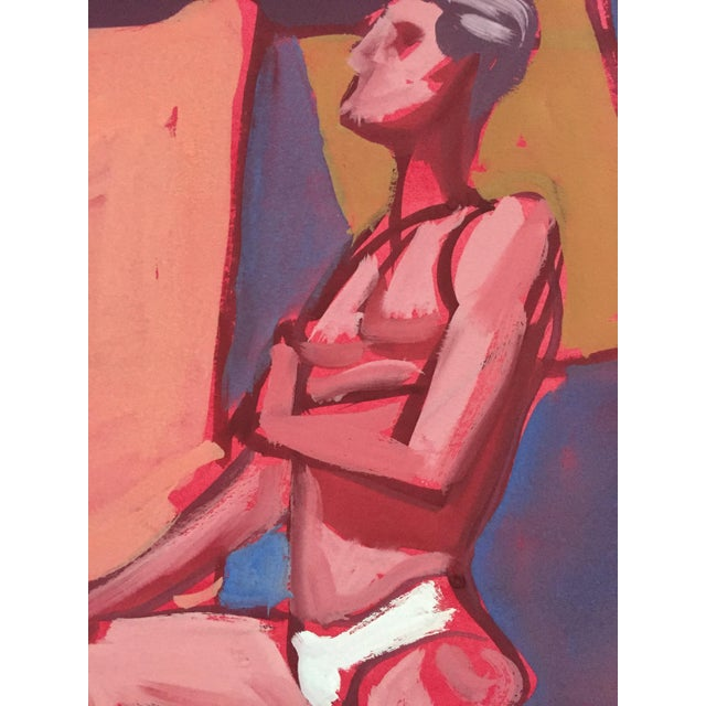Abstract Mid Century Bay Area Figurative Painting Male Standing For Sale - Image 3 of 7