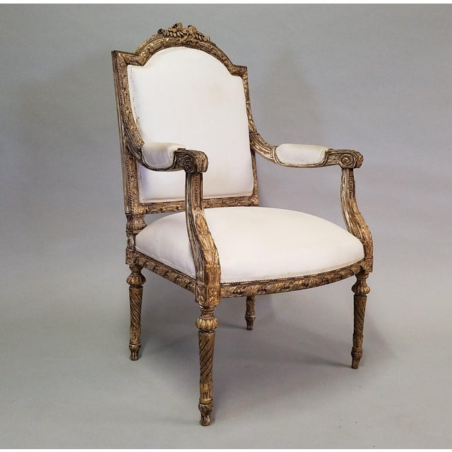 Traditional C. 1910 French LXIV Style Pair of Arm Chairs For Sale - Image 3 of 8