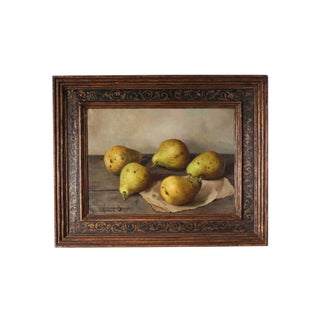 """Henk Bos Signed Oil on Canvas Still Life Painting """"Pears"""" For Sale"""