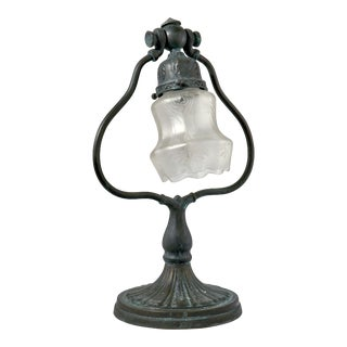 Vintage Bell Table Lamp With Etched Glass Shade For Sale
