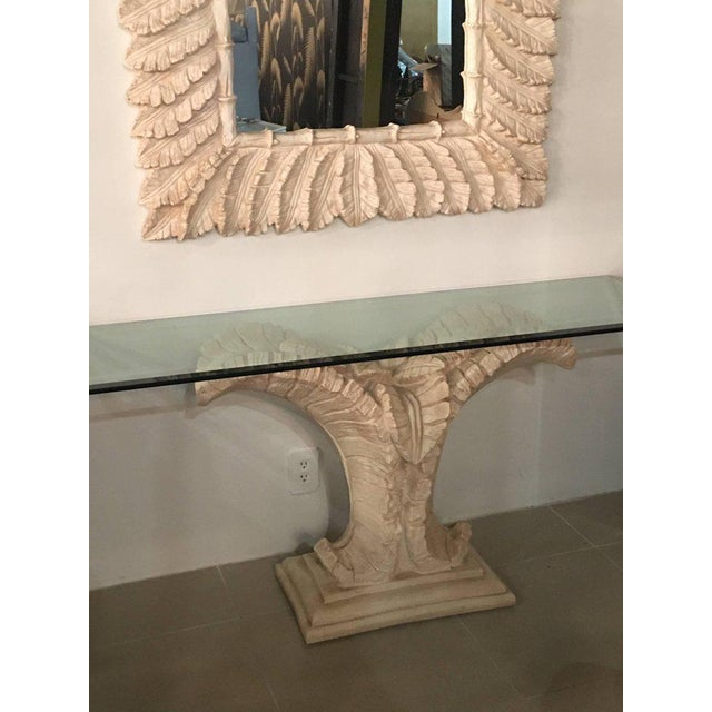 Glass Tropical Palm Tree Faux Bamboo Console Table & Mirror - A Pair For Sale - Image 7 of 11