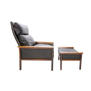 Danish Mid-Century Knut Sæter for Vatne Møbler Leather and Rosewood Lounge Chair and Ottoman For Sale