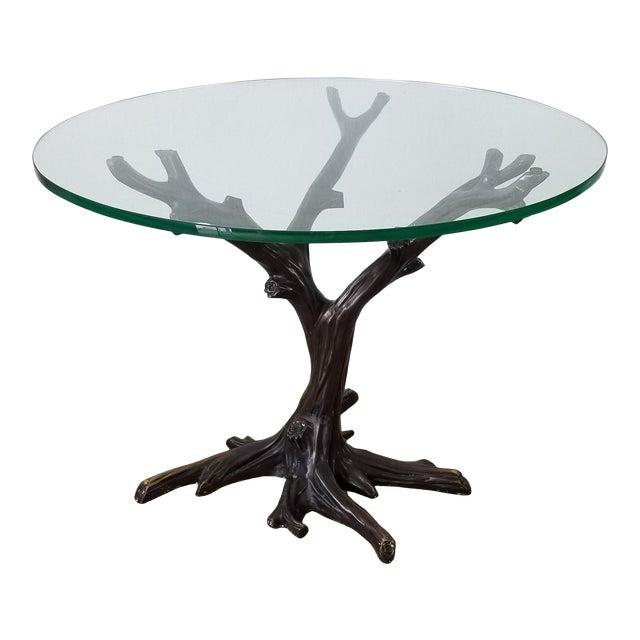 Vintage Sculptural Faux- Bois Bronze Dining Table . For Sale