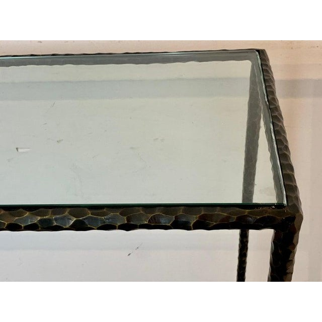 Modern French Modern Cast Bronze and Glass Console Table For Sale - Image 3 of 10