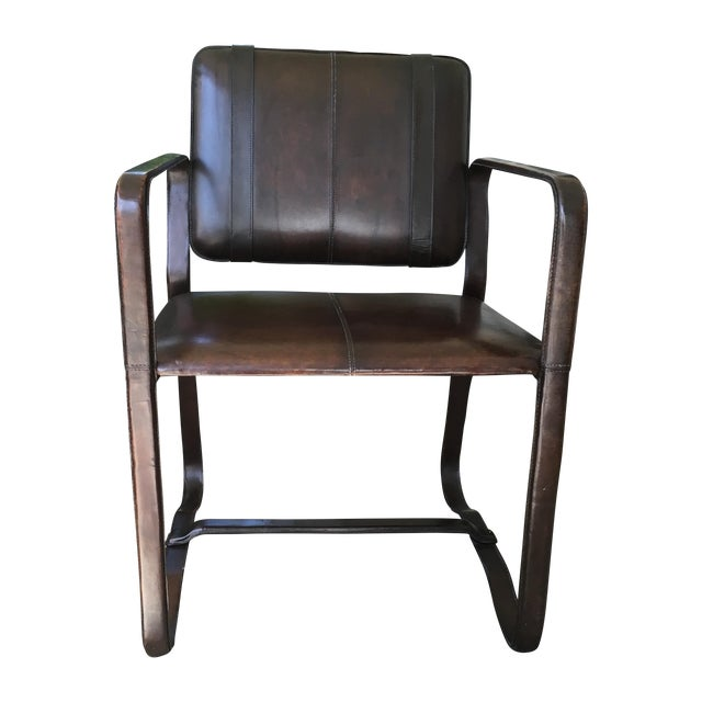 Restoration Hardware Brown Leather Buckle Chair - Image 1 of 5