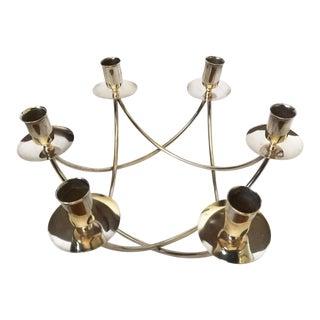 Vtg E. Dragsted Mid Century Modern Denmark Circular 8 Candle Silver Candelabra For Sale