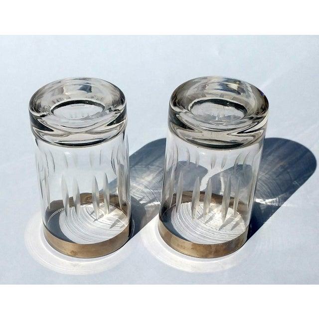Silver-Rim Cut-Crystal Shot Glasses - A Pair - Image 3 of 6
