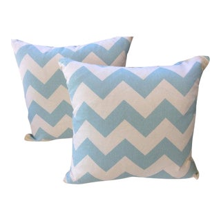 Kravet Pillows in Spa Blue & Cream Chevron Linen - a Pair For Sale
