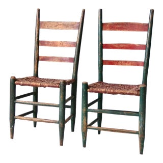 Antique Primitive Chairs - a Pair For Sale