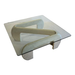 Glass Top Sculptural Resin Coffee Table