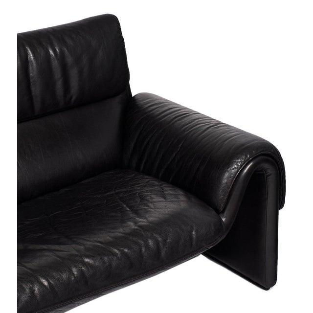 Modern Vintage De Sede Black Leather Sofa For Sale - Image 3 of 9