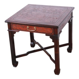 Drexel Heritage Carved Mahogany Hollywood Regency Chinoiserie X-Base Side Table For Sale