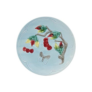 Vintage Majolica Cherries & Butterfly Plate For Sale