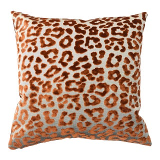 Contemporary FirmaMenta Burnt Orange Leopard Velvet Pillow For Sale