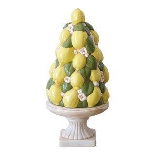 1960s Italian Majolica Yellow Ceramic Lemon Tree Topiary For Sale