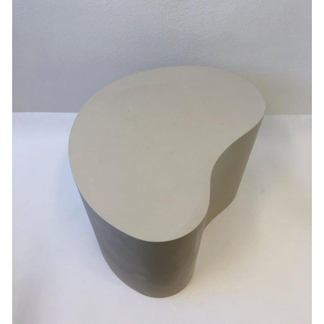 Leather Kidney Shape Side Table by Karl Springer For Sale In Palm Springs - Image 6 of 10