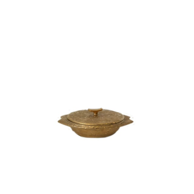 """Vintage Weeping Gold Covered Dish made of 22 karate gold. Dish measures 2 1/2"""" heigh, 7 """" wide, and 5 """" deep. Makers mark..."""