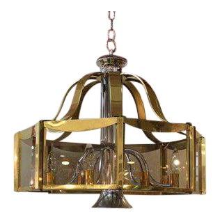 1970s Mid-Century Modern Fredrick Ramond Glass and Brass Chandelier For Sale