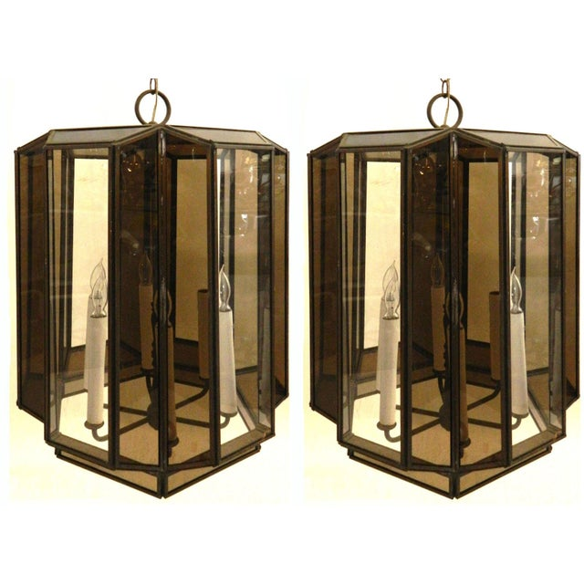 Vintage Brass Hanging Lanterns - Pair For Sale