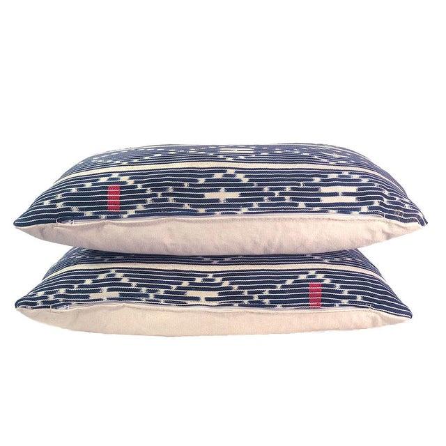 Tribal Tribal Denim Ikat Lumbar Pillows - a Pair For Sale - Image 3 of 6