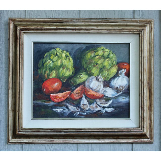 Artichoke Vegetable Still Life Original Oil Painting For Sale In Tulsa - Image 6 of 11
