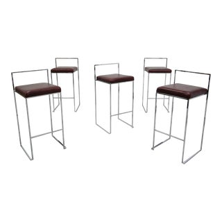 Set of 5 Thin Line Chrome and Leather Bar Stools by Milo Baughman