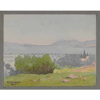 1917 San Francisco Bay With Peralta Park Hotel Painting Benjamin Harnett For Sale