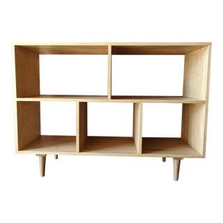 Custom Mid Century Style White Oak Book Record Shelf