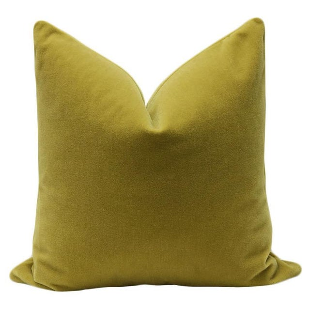 "22"" Mohair Velvet Pillows in Chartreuse - a Pair - Image 2 of 5"