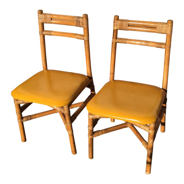 Pair Bamboo Side Chairs Mid Century For Sale
