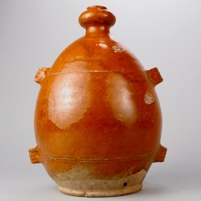 French French Brown Pottery Jug with Four Handles For Sale - Image 3 of 6