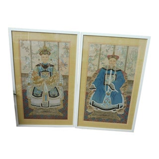 Hand Painted Chinese Ancestor Portrait Paintings - a Pair For Sale