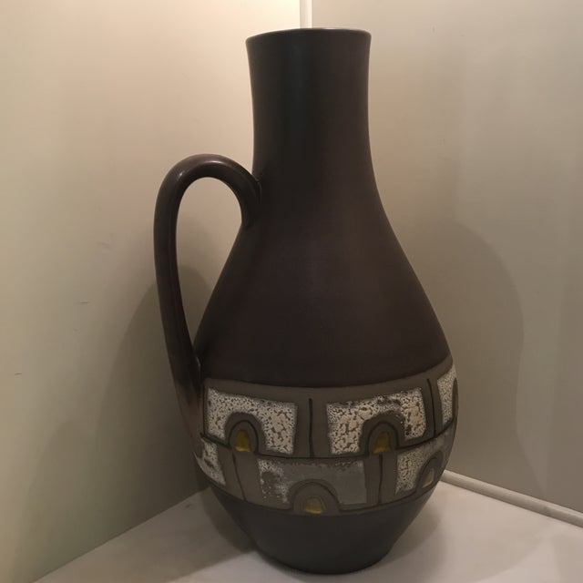 "Gorgeous very large vintage midcentury ceramic pitcher. Hand painted in beautiful colors. Measures 34"" in diameter. A real..."
