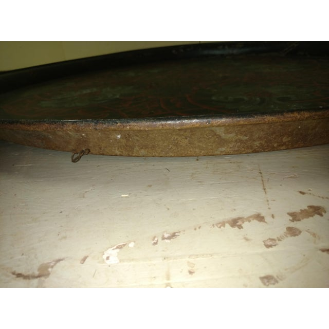 Red Antique Anglo Indian Huge Festival Wedding Tray For Sale - Image 8 of 9