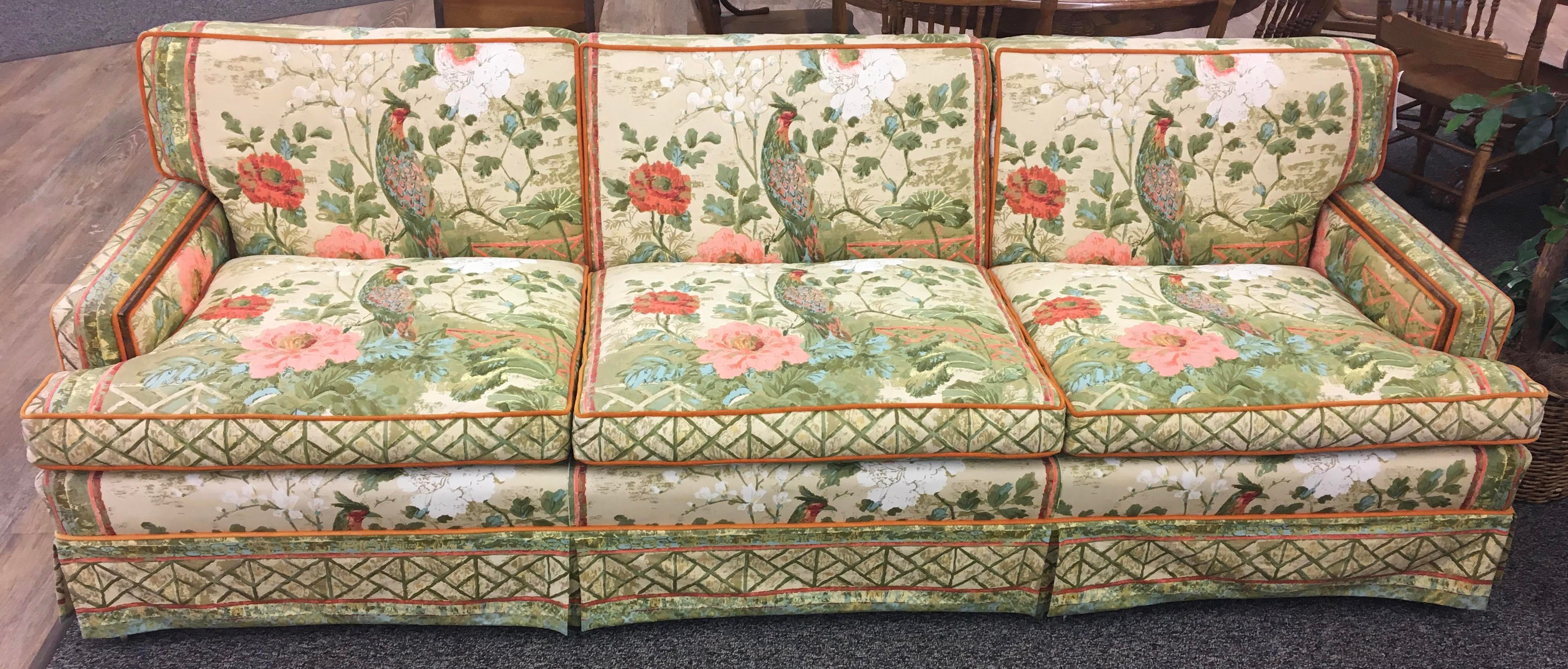 Turquoise Custom Hollywood Regency Peacock Fabric Vintage Sofa For Sale    Image 8 Of 8