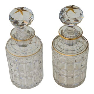 French Antique Cut Crystal Decanters - a Pair For Sale