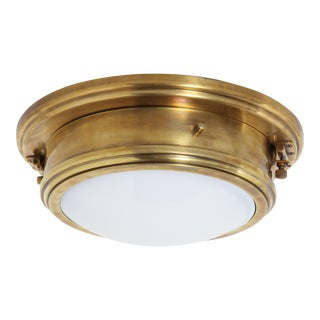 Ralph Lauren Marine Porthole Flushmount in Natural Brass, - Set of 7 For Sale