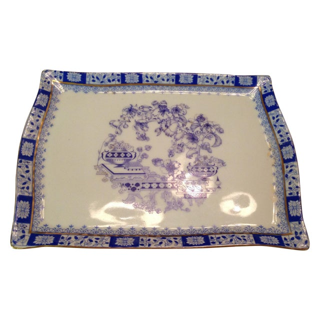 Old Moschendorf Bavaria Small Blue & White Tray - Image 1 of 7