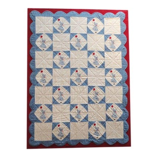 Folky Mounted Red/White/Blue Sunbonnet Sue Crib Quilt with Balloon