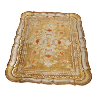 Vintage Florentine Gilt Wood Tray Tole Tray For Sale