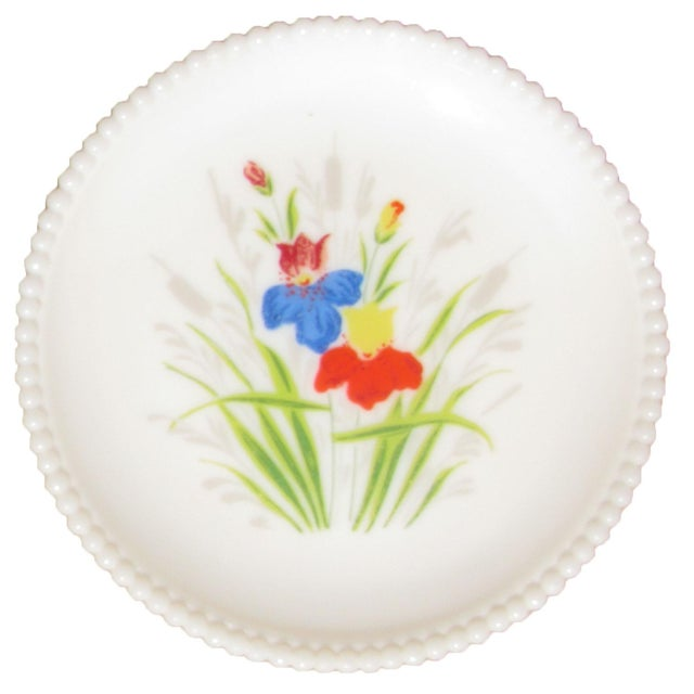 """Pair of charming, artisan-painted Westmoreland milk glass plates in the """"Beaded Edge"""" pattern. Decorated in a floral motif..."""