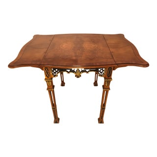 Chinoiserie Burled Wood & Inlay Pembroke Drop Leaf Table For Sale